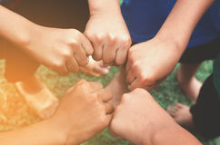 儿童手小组概念企业成功 库存图片