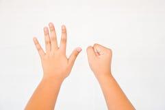 从儿童手的手指 库存图片