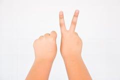 从儿童手的手指 库存照片