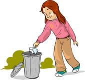 儿童投掷垃圾 库存图片
