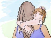 儿童拥抱,剪影 库存图片