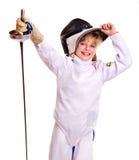 儿童操刀藏品的服装锐剑 免版税库存图片