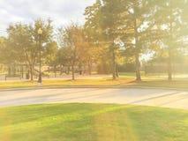 儿童操场活动在日落的住宅区 免版税图库摄影