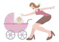 儿童新出生的妇女 库存例证