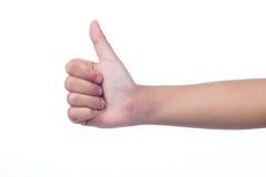 儿童显示赞许的` s手 免版税库存图片