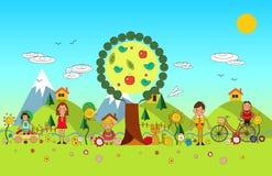 儿童暑假在公园 传染媒介套夏天儿童` s o 图库摄影