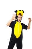 儿童服装鼠标使用 免版税库存照片