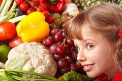 儿童果子女孩组蔬菜 库存图片