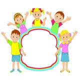 儿童框架 孩子、挥动的男孩和的女孩微笑和 库存图片