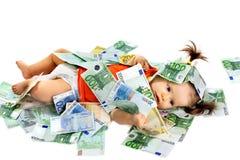 儿童欧元货币 库存照片