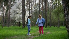 儿童步行在公园 一点女朋友走本质上与声学吉他的 美丽的森林道路,少年女孩ou 股票视频