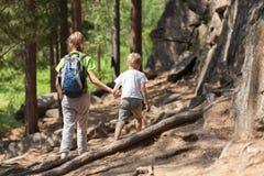 儿童步行在森林里 免版税库存图片