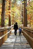 儿童母亲走的年轻人 免版税库存照片