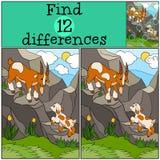 儿童比赛:发现区别 与他的婴孩的父亲山羊 免版税库存图片