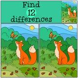 儿童比赛:发现区别 小的逗人喜爱的狐狸看蝴蝶 库存照片