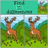 儿童比赛:发现区别 小的逗人喜爱的鹿 免版税图库摄影