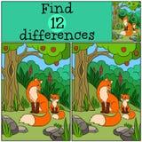 儿童比赛:发现区别 母亲狐狸坐与她的小逗人喜爱的婴孩 免版税库存照片