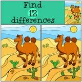 儿童比赛:发现区别 逗人喜爱的骆驼 免版税库存照片