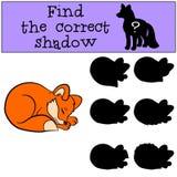 儿童比赛:发现正确阴影 小的逗人喜爱的小狐狸 皇族释放例证
