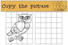 儿童比赛:复制图片 小的逗人喜爱的猫头鹰 免版税库存图片