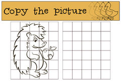 儿童比赛:复制图片 小的逗人喜爱的猬 库存例证