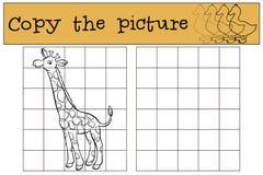 儿童比赛:复制图片 逗人喜爱的长颈鹿一点 皇族释放例证