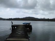 儿童渔在Portobelo 库存照片