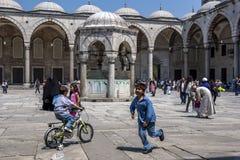 儿童游戏在蓝色清真寺的壮观的庭院里在伊斯坦布尔Sultanahmet区在土耳其 免版税库存照片