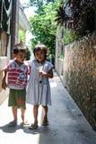 儿童游戏在围场 免版税库存图片