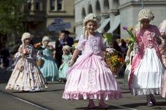 儿童游行瑞士苏黎世 免版税库存图片