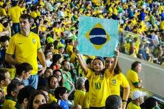 儿童爱好者巴西国家队 免版税库存图片