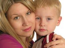 儿童特写镜头母亲 免版税库存照片