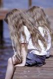 儿童特写镜头码头开会 免版税图库摄影
