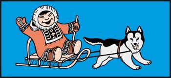 儿童狗愉快的爱斯基摩 免版税库存照片