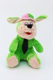 儿童狗绿色长毛绒玩具 库存图片