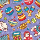 儿童玩具无缝的样式 设计明信片的,横幅,飞行物元素 免版税库存图片
