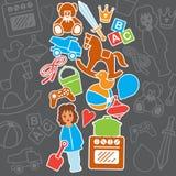 儿童玩具礼品店生日贺卡,传染媒介例证 免版税库存图片