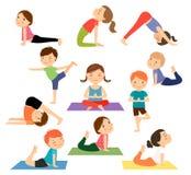 儿童瑜伽传染媒介 皇族释放例证