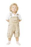 儿童男孩被隔绝在白色背景,微笑的孩子 库存图片