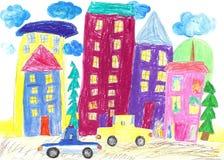 儿童画家庭乘汽车和公共汽车移动,绊倒 免版税库存照片