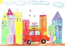 儿童画家庭乘汽车和公共汽车移动,绊倒 库存照片