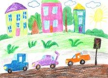 儿童画家庭乘汽车和公共汽车移动,绊倒 免版税图库摄影