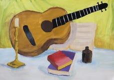 儿童的与吉他的图画静物画 免版税库存图片