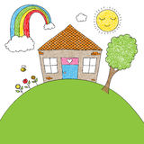 儿童的乱画房子 免版税图库摄影