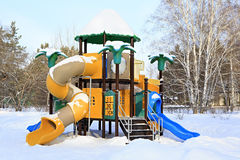儿童的体育赌博复合体在冬天 库存照片