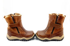 儿童的冬天鞋子 图库摄影