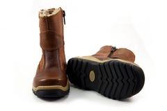 儿童的冬天鞋子 免版税库存照片