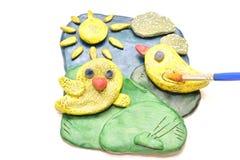 儿童的创造性 彩色塑泥 免版税库存图片