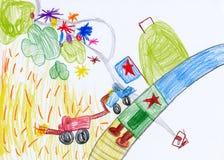 儿童的图画。 收获在村庄 库存图片