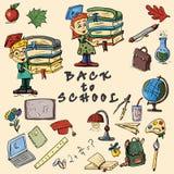 儿童的在学校题材,学校s设计的彩色插图  库存图片